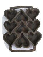 Vintage Heart Shaped 9 Muffin Cast Iron Bread Pan