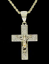 "14k Gold Plated Iced Crucifix Pendant Cz 24"" Rope Chain Hip Hop Necklace"