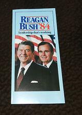 LEADERSHIP THATS WORKING  REAGAN &  BUSH 1984 ORIGINAL  CAMPAIGN BROCHURE