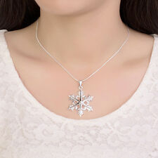 Promotion Price 925Sterling Silver Snowflake Pendant lady Chain Necklace YN938