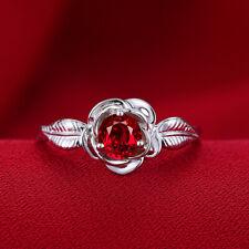 Solid 14k White Gold Prong Settings 5mm Round Garnet Fashion Fine Gemstone Ring