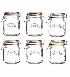 6 x Kilner Square Clip Top Preservation Storage Jar 1ltr  [5914Z]