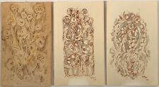 Listed Artist Charles Seliger (1926-2009) Lot Of 3 Signed Ink On Paper Paintings