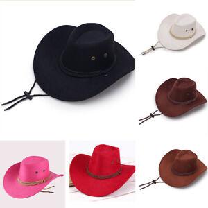 Cowboy Hat Unisex Faux Leather Sunhat Wild Brim Panama Hat Visor Hats
