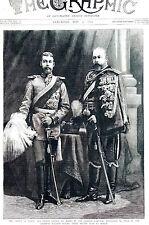 Prince of Wales Prince George in GERMAN UNIFORMS in BERLIN Matted 1890 Engraving