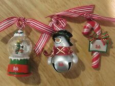 Snowman & Candy Cane Christmas Ornament Personalized with name Bob - Lot of 3