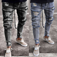 US Men Skinny Denim Jeans Slim Fit Ripped Destroyed Zip Up Casual Pants Trousers