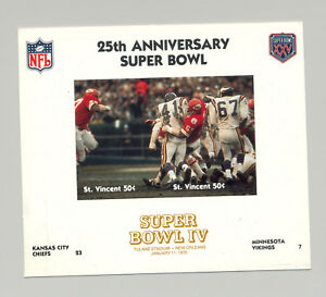 St Vincent #1403 Football Super Bowl IV 1v M/S of 2 Imperf Chromalin Proof