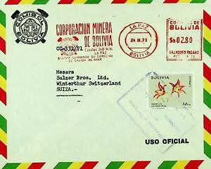 BOLIVIA 1971 METER FRANKED AIRMAIL COVER FROM LA PAZ TO SWITZERLAND