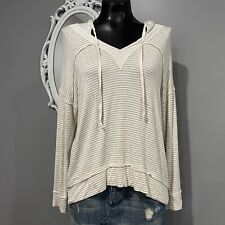 Medium - ELAN Comfy Soft Taupe And Ivory Striped Hoodie Top