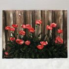 """1983 Poppy Flowers Oil Painting on Canvas Board Orig Artist Pat Gaskell 9""""x12"""