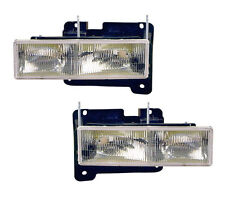 Pair of Head Lights w/ Bulbs Left & Right Fits 1988-1998 Chevy GMC Pickup Truck