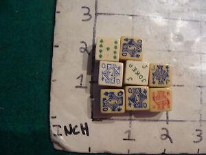 original vintage dice: 8 OLDER PLAYING CARDS ON DICE, cool, interesting