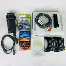 Microsoft Xbox 360 White Console 60GB HDD 5 Games 2 Controllers TESTED WORKING