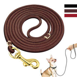 6mm Real Leather Dog Lead Leash for Small Dogs Show Slip Lead Red Brown Black