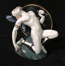 Rare Stunning Procelain Vintage Roman Lady Gladiator, Sculpture by Josef Kopp