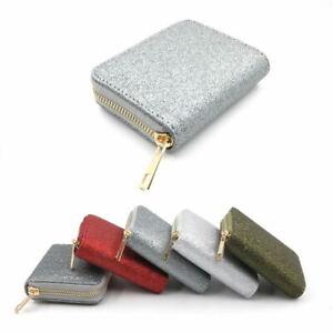 Womens  Zip Coin Purse Glitter Shinny Silver Gold Mini Wallet Christmas Gift
