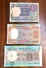 INDIA SET 3 PCS 1 2 5 Rupees X 100 PCS 3 BUNDLES 1975-1981 P-78 79 80 AU-UNC
