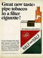 1964 HALF and HALF Cigarettes pipe tobacco in filter cigarette Vintage Print Ad