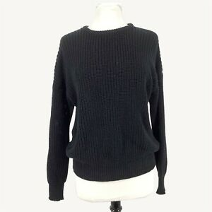 American Apparel Cotton Unisex M Medium Pullover Sweater Cable-Knit Long Sleeve
