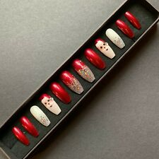 Hand Painted False Nails XL COFFIN Full Cover Christmas SANTA Glitter Red Xmas