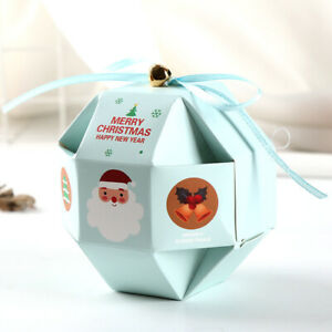 10pcs Christmas Candy Packaging Box Creativity Simple Carrier Bags Colorful