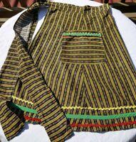 Vintage half Apron Farmhouse country stripe floral black yellow cotton pocket