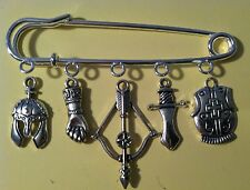 Kilt Pin Purse Visor Brooch Hunger Game Throne Armor Sword Bow 5 Silver Charms