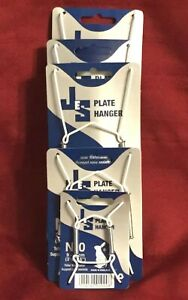 "JES Co England White Vinyl Covered Wire Plate Hanger Diff Sizes 3.5"" up to 16"""