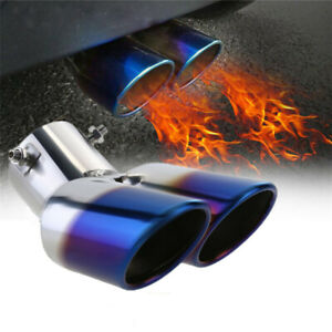 1To2 Car SUV Rear Dual Exhaust Pipe Tail Muffler Tip Throat Tailpipe Accessories