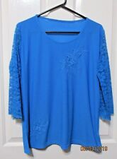 Ladies  Bright Blue Top 3/4 Long sleeves of lace Size 14