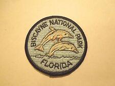 Vintage Biscayne National Park Florida Dolphin Illustration Iron On Patch