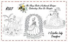 #307 - 3 Crinoline Ladies Lady Garden Gal Belle Embroidery Iron-On Transfers
