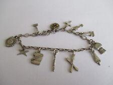 vintage sterling EASTERN STAR charm bracelet ...12 charms