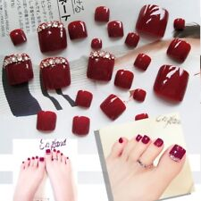 24Pcs Stylish Red Rhinestone Tips Full Cover False Toe Fake Nails Manicure Tools