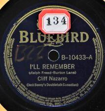 Cliff Nazarro I'll Remember 78 NM Bluebird 10433 Novelty Doubletalk Comedy NICE