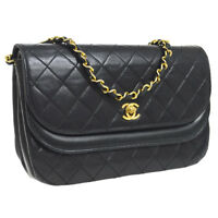 Auth CHANEL Quilted CC Double Flap Chain Shoulder Bag Black Leather GHW AK26340