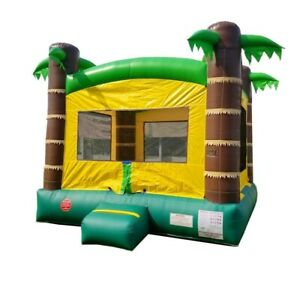 Pogo Kids Inflatable Bounce House With Blower Tropical Premium Moonwalk Castle