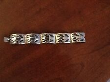 Vintage Taxco Mexico GRO EDP Sterling Silver Overlay Aztec Style Bracelet