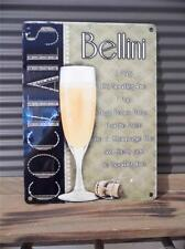BEAUTIFUL VINTAGE ART DECO STYLE METAL WALL PLAQUE SIGN *BELLINI * COCKTAIL* FAB