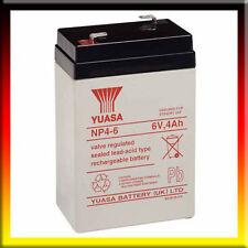 YUASA NP4-6, 6V 4AH (4.5 AH & 5Ah) EMERGENZA LUCE ILLUMINAZIONE BATTERIA