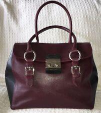 CLAUDIA FIRENZE Saffiano Leather Lock Satchel Bag Purse Handbag-Near Mint