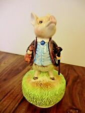 """7 """" Schmid Beatrix Potter """"Pigling Bland"""" Musical Figurine """" King Of The Road """""""