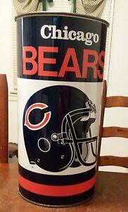 Vintage Chicago Bears Metal Trash Can NFL Football