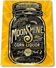 Shine On Moonshine Retro Gold Glass Jar Bar Man Cave Wall Decor Metal Tin Sign