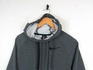 NIKE Dri-Fit Men's Grey Long Sleeve Pullover Drawstring Hoodie Exercise Gym | S