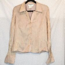 Ronnie Nicole L Large Top Shirt Gold Metallic Button Down Long Sleeve Womens