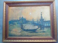 "Bouvier de Cachard VENICE Italy Old Painting Canvas Print 1965 23""x29"" Framed"