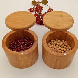 Bamboo Storage Jar Box Seasoning Container Spice Salt Storage Case for Kitchen
