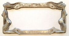 Vtg Nude Lady License Plate Frame-Cruiser Accessories-1991-Metal Chrome-Rustic